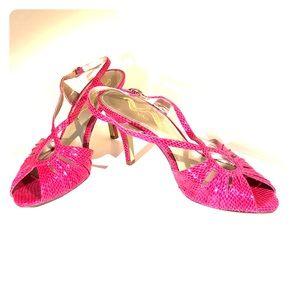 Nina Pink Snakeskin Strappy Sandals Size 9 Heels